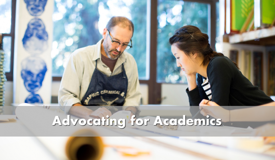 Advocating for academics - picture of professor with student in art studio