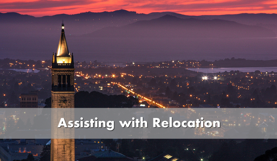 Assisting with relocation - picture of UC Berkeley campanile at sunset
