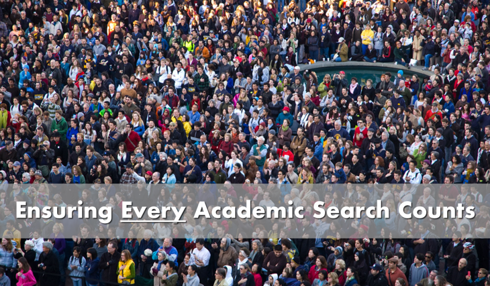 Ensuring every academic search counts - picture of crowd