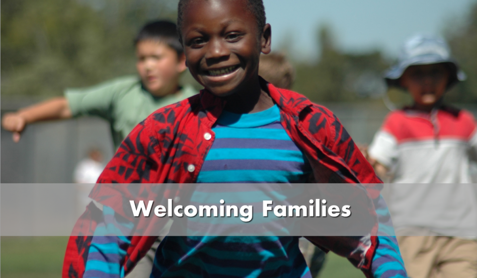 Welcoming families - picture of little boy running and smiling
