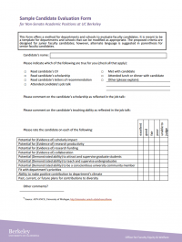 Appendix D: Sample Candidate Evaluation Form | Office for Faculty ...