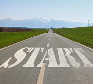 start written on road